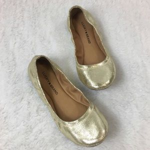 Lucky Brand Elysia Gold Metallic Leather Flats